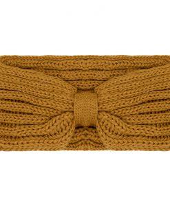 Gebreide-Gele-Haarband-one-size-kopen-bij-Sjaalskopen-warme-oker-gele-hoofdband-voorkant-horizontale-breisels-en-strik