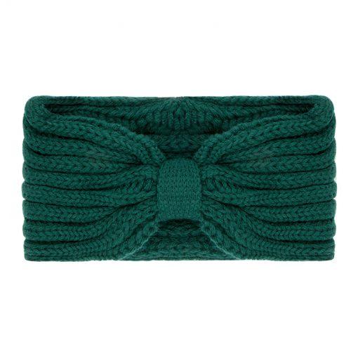 Gebreide-Groene-Haarband-one-size-kopen-bij-Sjaalskopen-warme-groene-hoofdband-voorkant-breisel